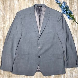 {Calvin Klein} Grey Crosshatch Wool Blend Blazer